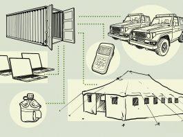 Ilustração de contêiner de transporte, caminhões, laptops, tenda e outros equipamentos (Depto. de Estado/Doug Thompson)