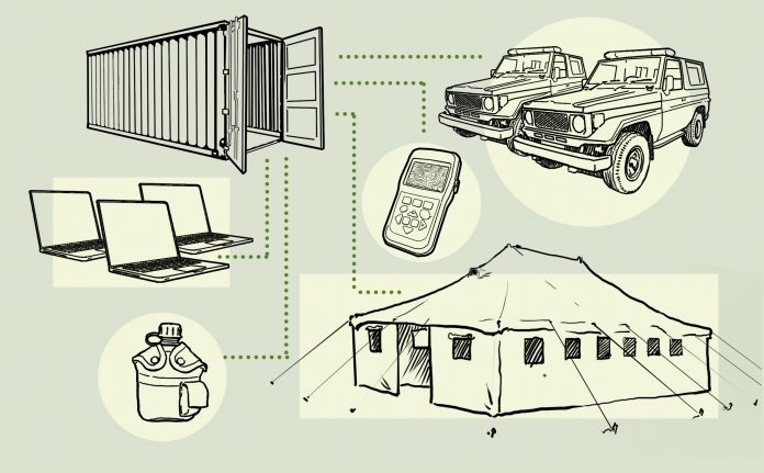 Illustration of shipping crate, trucks, laptops, tent and other equipment (State Dept./Doug Thompson)