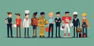 Drawing of workers in different occupations (Shutterstock)