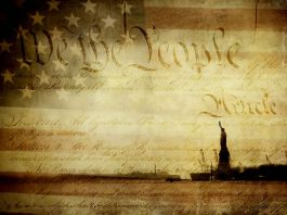Collage with U.S. flag, U.S. Constitution and Statue of Liberty (Shutterstock)