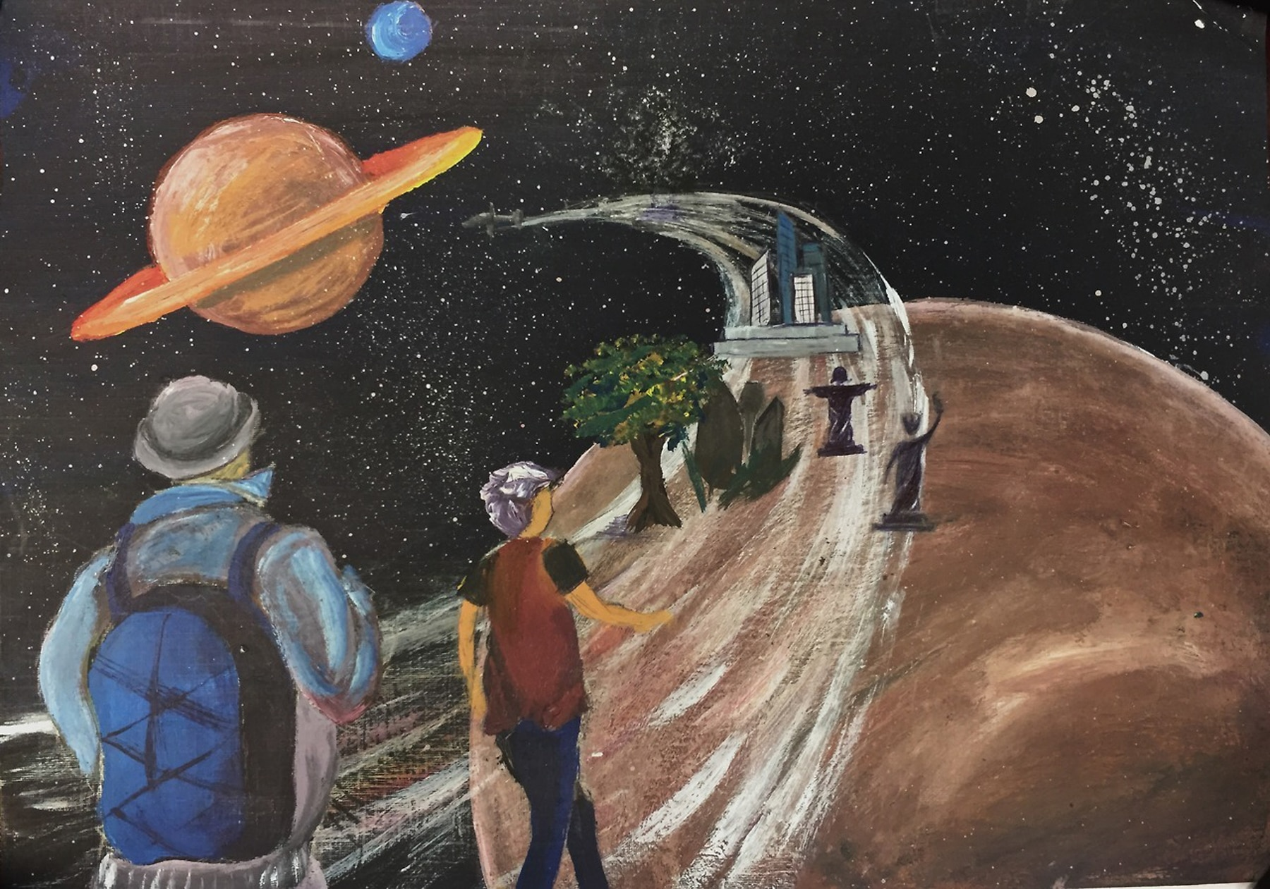 Painting of people hiking along path leading to solar system (Sister Cities International)