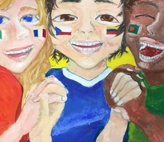 Painting of three children holding hands with flags painted on their cheeks (Sister Cities International)