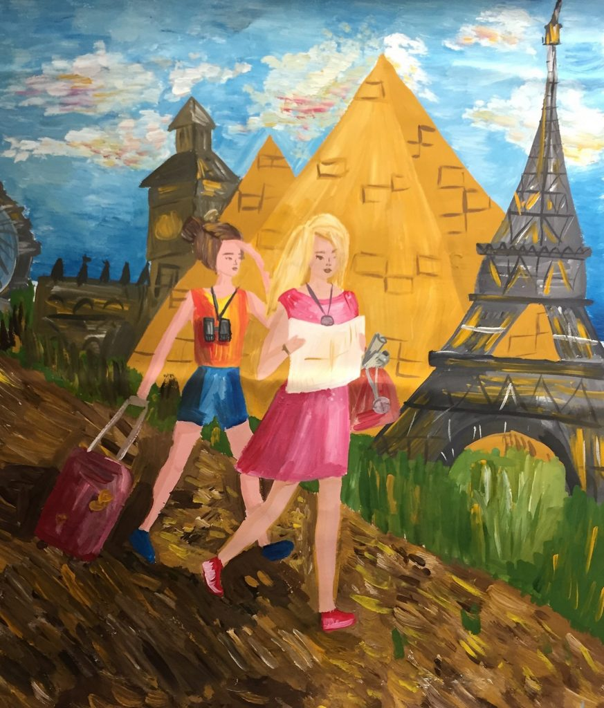 Painting of two people walking past pyramids and Eiffel Tower (Sister Cities International)