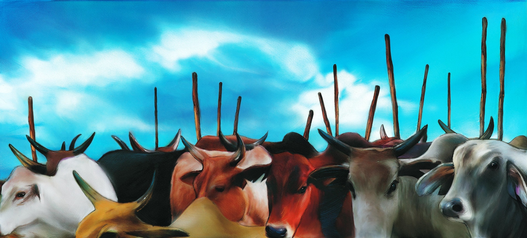 Colorful illustration of African cows (Thomas Gonzalez)