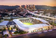 Artist's rendering of Los Angeles and soccer stadium in foreground for the 2028 Olympics (Los Angeles 2028)