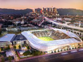 Dessin d'artiste représentant Los Angeles avec le stade de football des Jeux olympiques de 2028 en avant-plan (Los Angeles 2028)