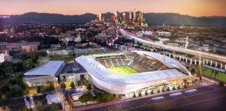Visión artística de Los Ángeles y un estadio de fútbol al frente para las olimpíadas 2028 (Los Ángeles 2028)