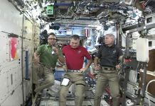 Three astronauts in Space Station (NASA)