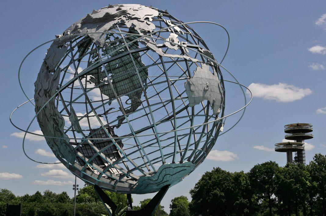 Giant globe on metal framework (© AP Images)