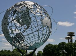 Giant globe on metal framework (© AP Images)