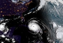 Satellite image of hurricanes (NOAA via AP Images)