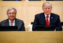 António Guterres e presidente Trump lado a lado (© AP Images)