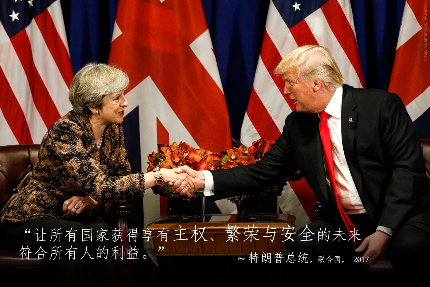Theresa May and President Trump seated and shaking hands, with quote from President Trump overlaid (© Kevin Lamarque/Reuters)