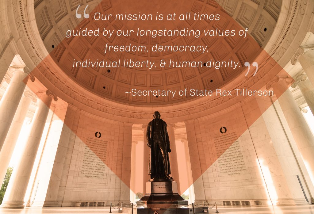 Statue inside memorial with quote from Secretary TIllerson (Shutterstock)