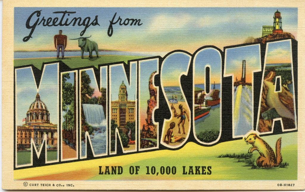 "Vintage postcard that says ""Greetings from Minnesota"" (© IllustratedHistory/Alamy Stock Photo)"