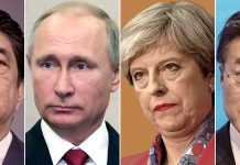 Close lado a lado de Abe, Putin, Theresa e Moon (© AP Images)