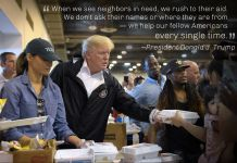 Quote from President Trump over picture of him and Melania Trump giving containers of food to people in shelter (© AP Images)