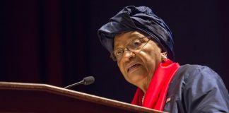Ellen Johnson Sirleaf at lectern (State Dept./D.A. Peterson)