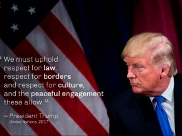 President Trump and U.S. flag, with quote overlaid (© Brendan Smialowski/AFP/Getty)