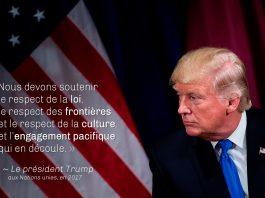 Le président Trump et le drapeau américain, avec une citation du président Trump sur la photo (© Brendan Smialowski/AFP/Getty)