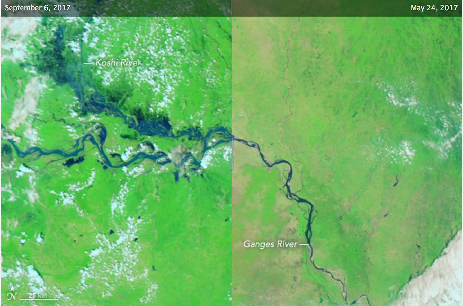 Duas imagens de satélite de sistema fluvial (Observatório Terrestre da Nasa)