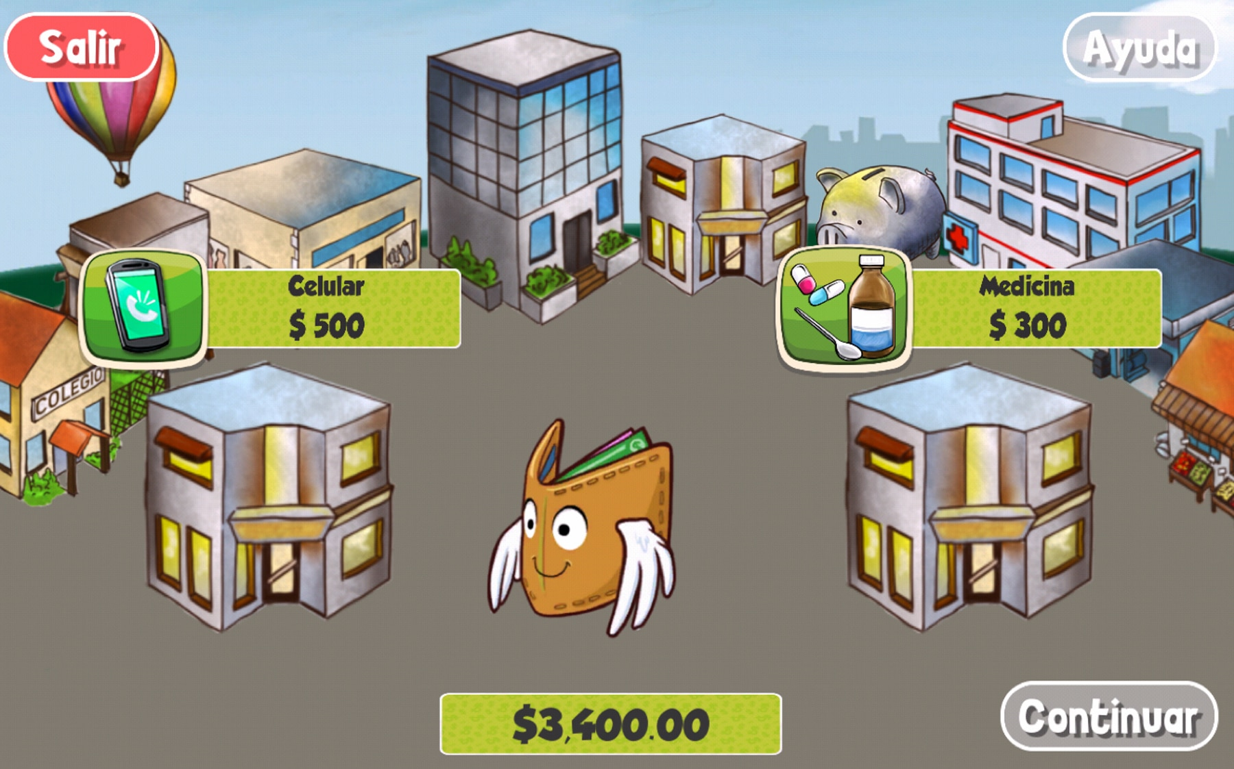Cartoon town with animated wallet and information buttons overlaid (Fundación Capital)