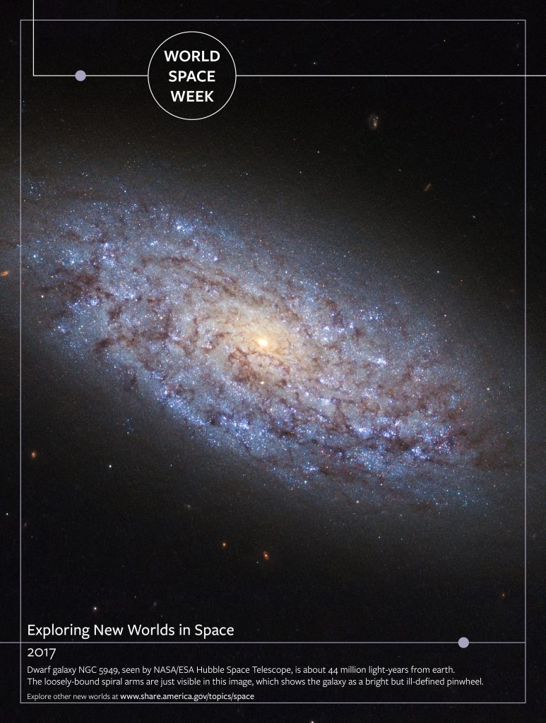 Poster with galaxy in space and text overlaid (State Dept./S. Gemeny Wilkinson)
