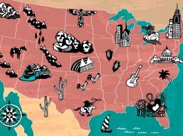 خريطة للولايات المتحدة مع رسم توضيحي لمناطق الجذب السياحي (Shutterstock)