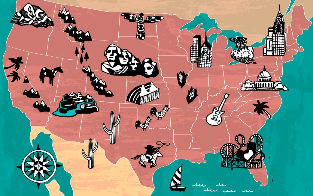 Map of United States with illustrations of tourist attractions (Shutterstock)