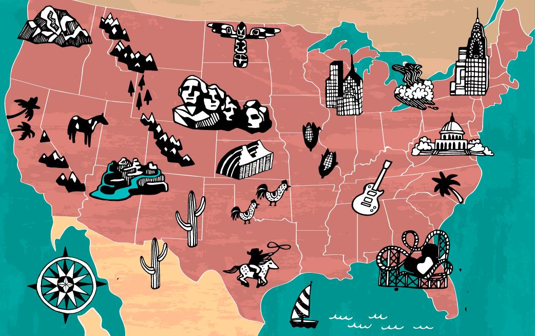 Carte des États-Unis avec des dessins représentant des composantes emblématiques des différents parcs nationaux et États (Shutterstock)