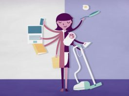 Illustration of woman holding items for office and home tasks (State Dept.)