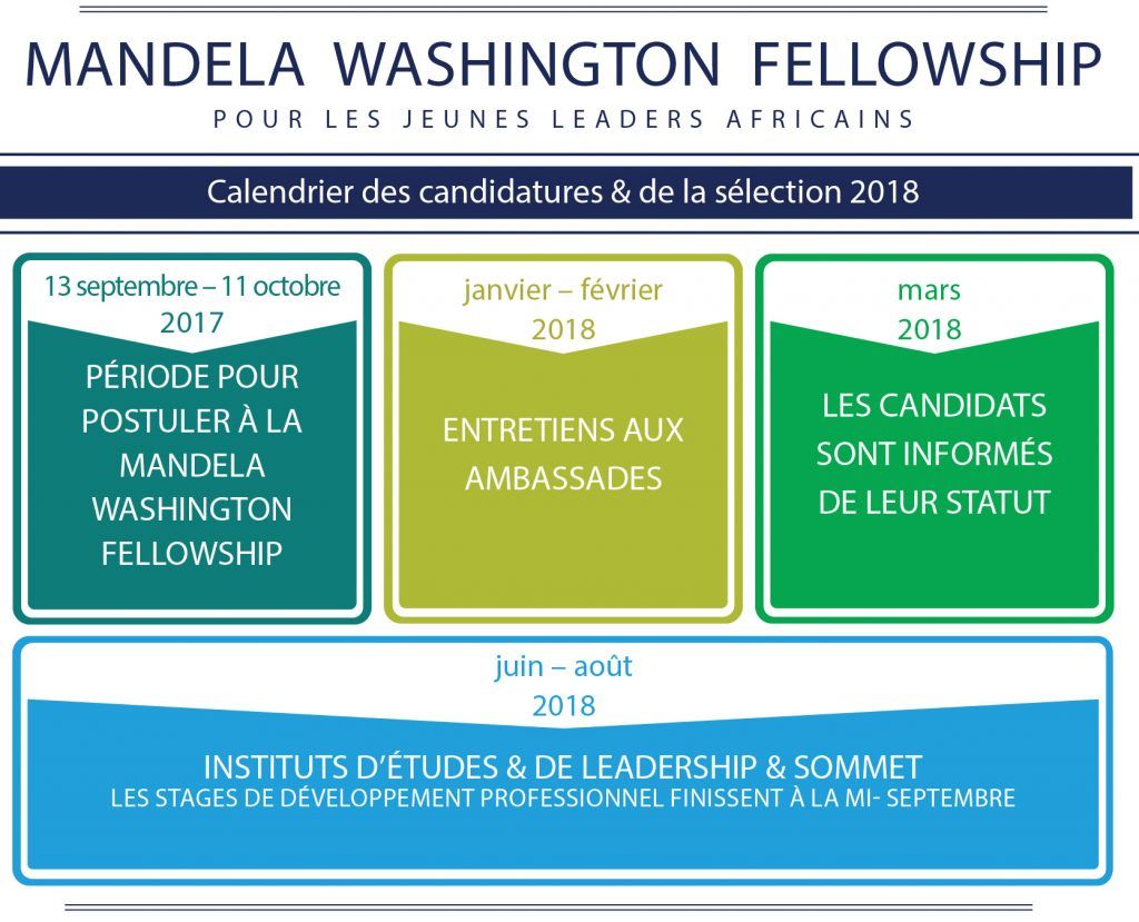 Graphique illustrant le processus de candidature à la Mandela Washington Fellowship – YALI (Département d'État)