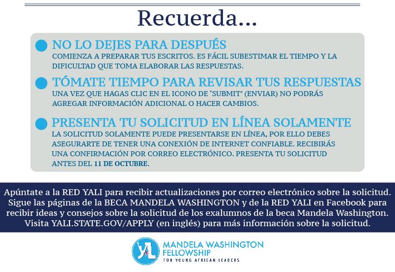Infografía con puntos a recordar cuando se postule a la beca Mandela Washington (Depto. de Estado)