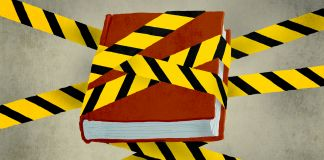 Ilustração de um livro embalado com fita de aviso (Depto. de Estado/Doug Thompson)