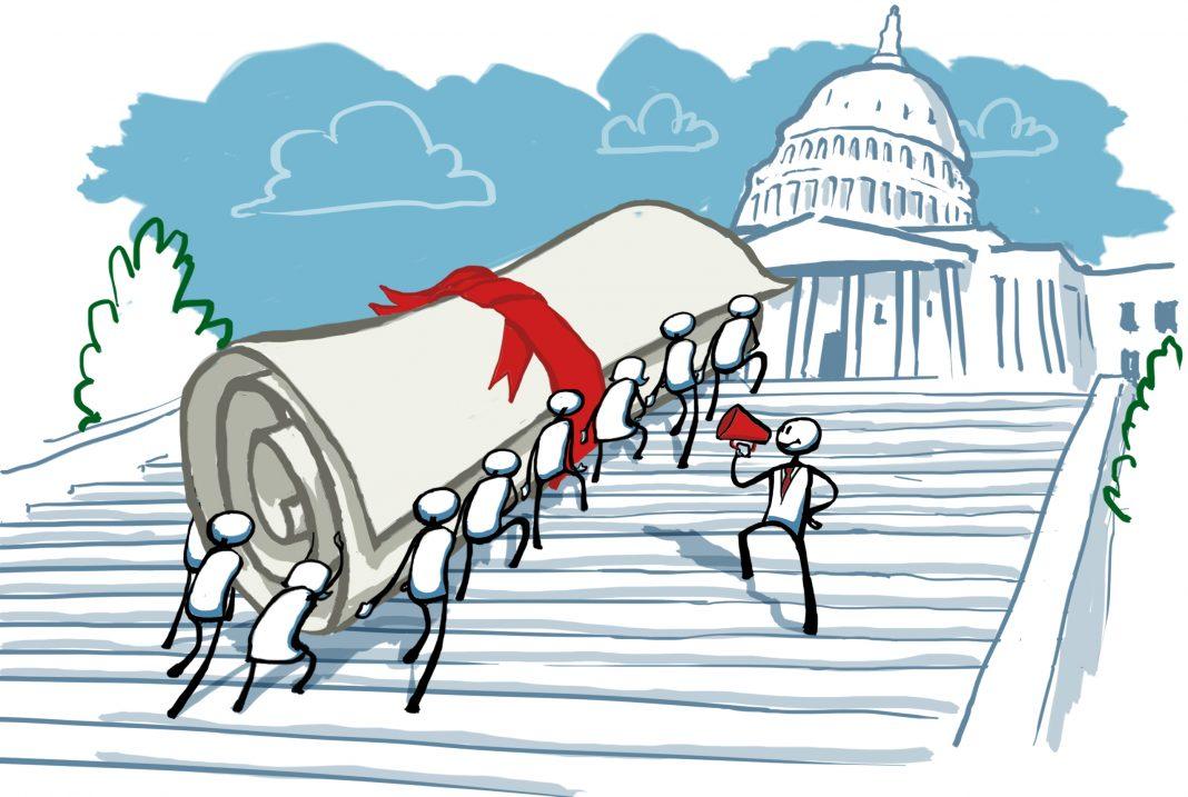 Dessin montrant des gens qui gravissent les marches menant au Congrès en portant un énorme rouleau de papier entouré d'un ruban (Département d'État/D. Thompson)