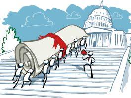 Ilustração de pessoas subindo degraus no Capitólio dos EUA carregando um documento enrolado de tamanho gigante (Depto. de Estado/D. Thompson)