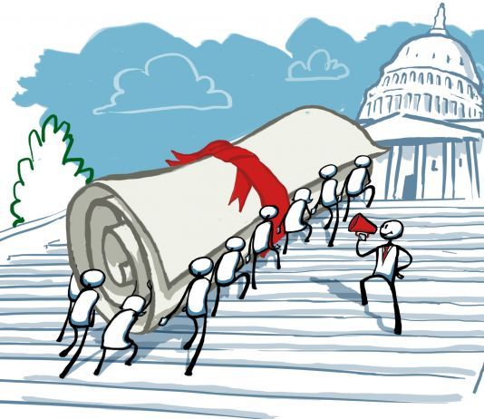 Illustration of people carrying giant rolled-up document up U.S. Capitol steps (State Dept./D. Thompson)