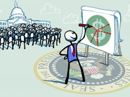 Illustration of person drawing on easel with Congress and crowd behind him (State Dept./D. Thompson)
