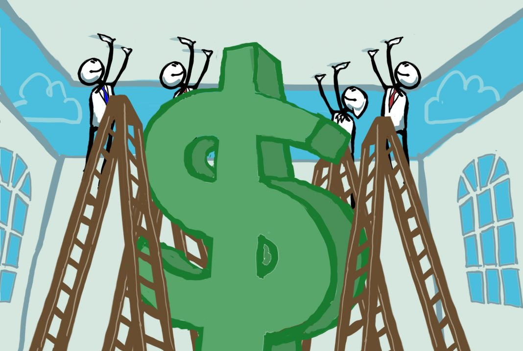 Illustration of people on ladders pushing up ceiling to make room for large dollar sign (State Dept./D. Thompson)