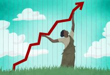 Illustration of woman pushing economic graph upward (State Dept./Doug Thompson)