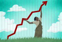 Ilustração de mulher empurrando para cima a seta de um gráfico sobre economia (Depto. de Estado/Doug Thompson)
