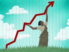 Dessin d'une femme poussant vers le haut une ligne représentant la croissance économique sur un graphique (Département d'État/Doug Thompson)