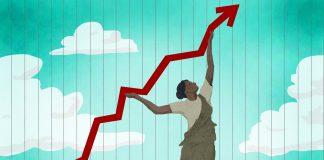 Illustration of woman pushing economic graph upward (State Dept./Doug Thompson)