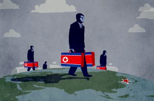 Illustration of people carrying North-Korea-flag-labeled suitcases and walking on globe toward North Korea (State Dept./D. Thompson)