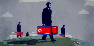 Ilustração de pessoas carregando malas com a bandeira da Coreia do Norte e caminhando sobre o globo em direção à Coreia do Norte (Departamento de Estado/D. Thompson)