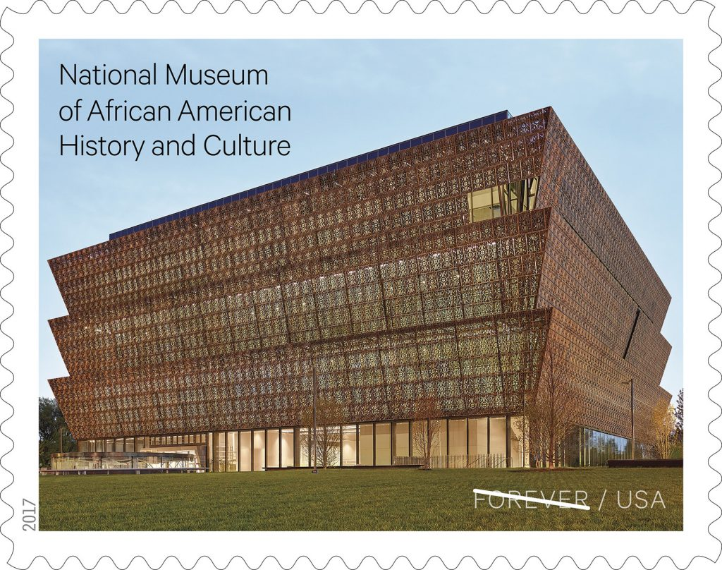 U.S. postage stamp showing National Museum of African American History and Culture (USPS)
