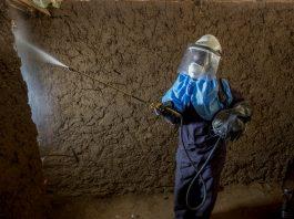 Mulher em traje de segurança pulveriza o interior de uma casa (© Jessica Scranton/AIRS)