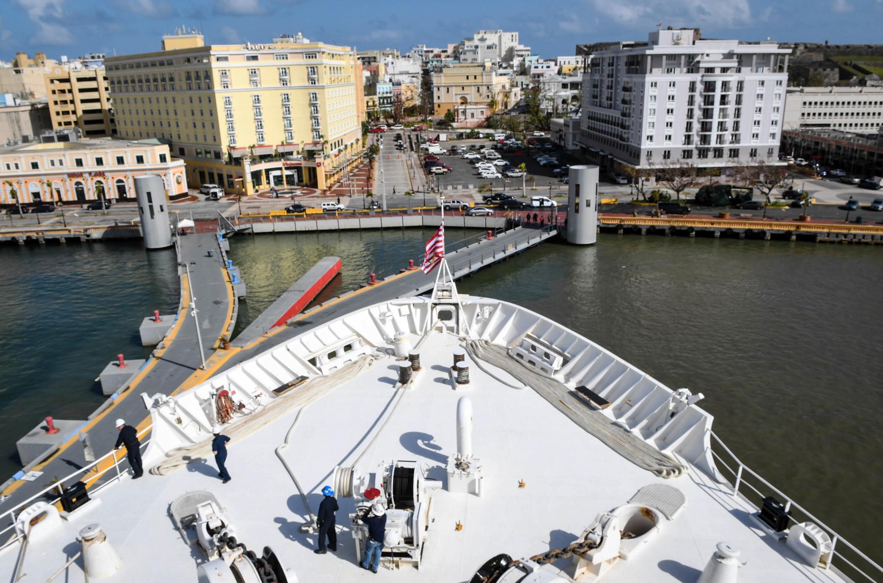 Naval ship arriving in port (U.S. Navy)