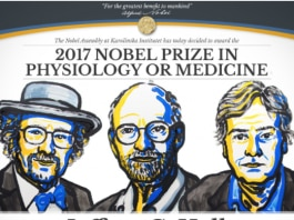 Captura de tela do anúncio do Prêmio Nobel com ilustração dos três ganhadores (Nobelprize.org)