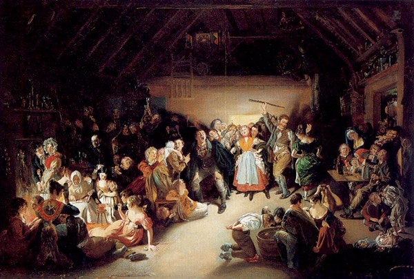Snap-Apple Night是丹尼尔·麦克莱斯(Daniel Maclise)于1833年绘制的油画,展示人们在爱尔兰庆祝万圣节。(公有领域)